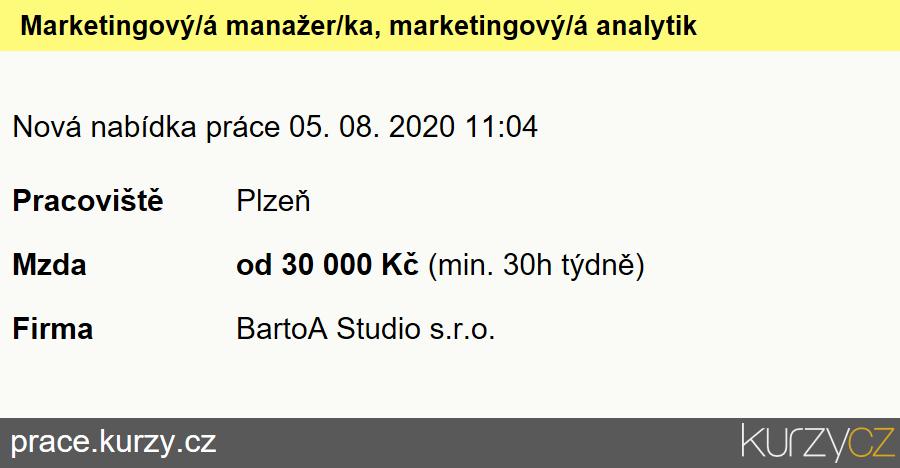 Marketingový/á manažer/ka, marketingový/á analytik/čka, marketingový/á konzultant/ka, Specialisté voblasti marketingu